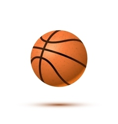 Realistic basketball ball with shadow on white vector image vector image