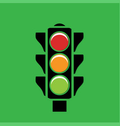traffic light on a green background vector image