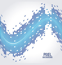 blue pixel background with design of wave vector image vector image
