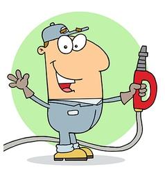 Caucasian Cartoon Gas Station Attendant Man vector image vector image