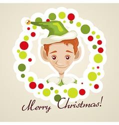 Cute elf christmas card vector image vector image