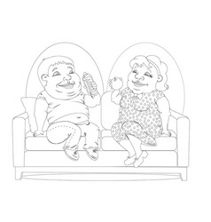 Fat people on the couch white and black vector