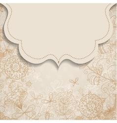 frame on vintage background with floral patterns vector image vector image