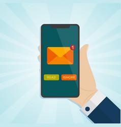hand holding smartphone with unread inbox message vector image