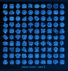 neon line icon - set 2 vector image
