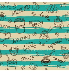 Seamless coffee pattern with hand drawn elements vector image