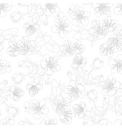 seamless pattern with flowers of sakura vector image