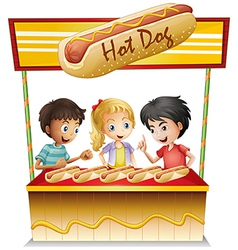 Three kids in a hotdog stand vector image vector image