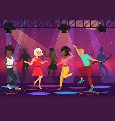 young multi ethic people couples dancing in vector image