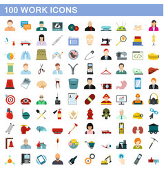 100 work icons set flat style vector image