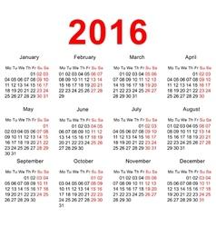 2016 Calendar template Horizontal weeks First vector image vector image