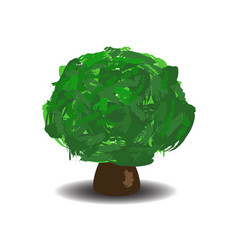 green tree with brush textured crown vector image vector image