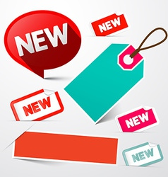 New and Empty Paper Labels Set Isolated on Light vector image