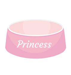 pink dog food bowl with an inscription princess vector image