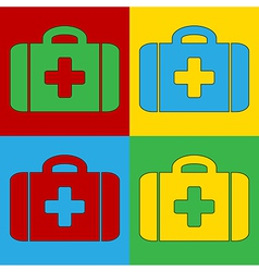 Pop art first aid icons vector image vector image