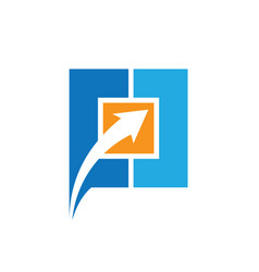 square arrow business logo vector image vector image