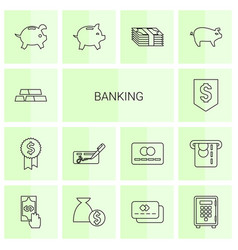 14 banking icons vector image
