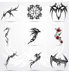 Abstract tattoo tribal set vector