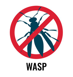 Anti wasp sign with icon of fly vector