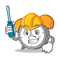 Automotive alarm clock mascot cartoon vector