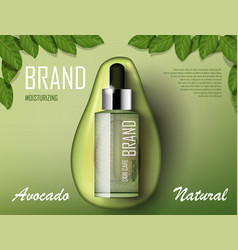 Avocado cosmetics oil template ad organic product vector
