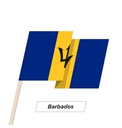 Barbados Ribbon Waving Flag Isolated on White vector image
