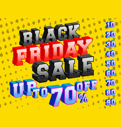 black friday sale banner colorful 3d design vector image