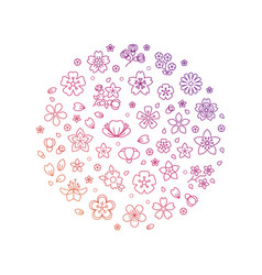 blossom flowers thin line icons vector image