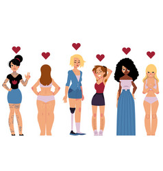 body positive concept set with young beautiful vector image