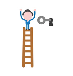 Businessman climb to top of wooden ladder and vector
