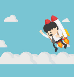 Businessman flying on a rocket on blue sky vector