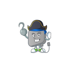 Calm one hand pirate power bank mascot wearing hat vector