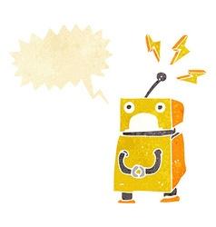 Cartoon little robot with speech bubble vector
