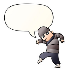Cartoon sneaking thief and speech bubble in vector