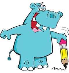 Cartoon Student Hippo vector image