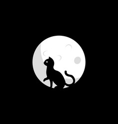 cat and moon design vector image