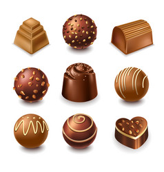 Chocolate candies and comfits sweets 3d vector