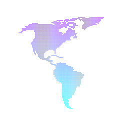 colorful dotted north and south america map vector image