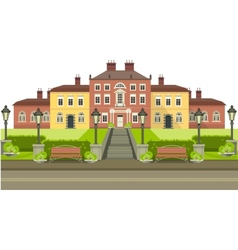 Country house with park vector
