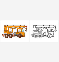 Crane truck coloring page truck side view vector