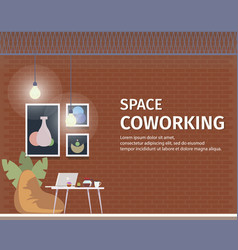 Creative coworking space for freelancer banner vector