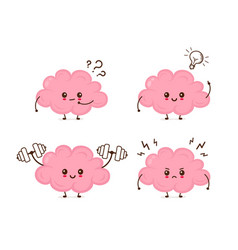 Cute funny brain emotions set vector