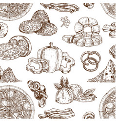 Drawn pizza ingredients pattern vector
