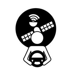 driver at steering wheel autonomous satellite gps vector image