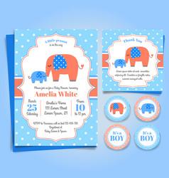 elephant baby shower invitation birthday party vector image