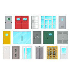 entrance doors isolated cartoon icons set vector image