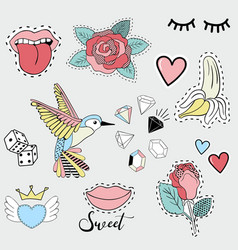 Fashion cute patches for girls vector