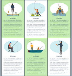 Fishing hobby posters people vector