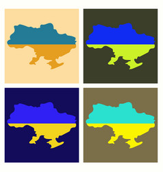 Flag map of ukraine vector