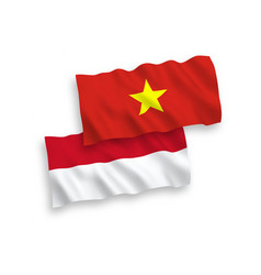 Flags indonesia and vietnam on a white vector